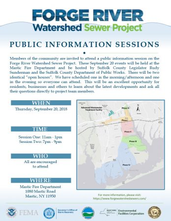 Forge River Watershed Sewer Project Public Information Sessions