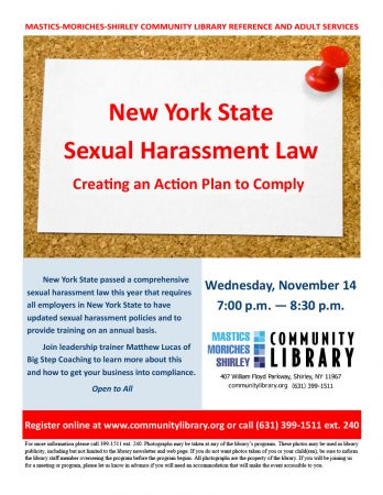 New York State Sexual Harassment Law: Creating an Action Plan that Works @ Mastics-Moriches-Shirley Community Library | Shirley | New York | United States