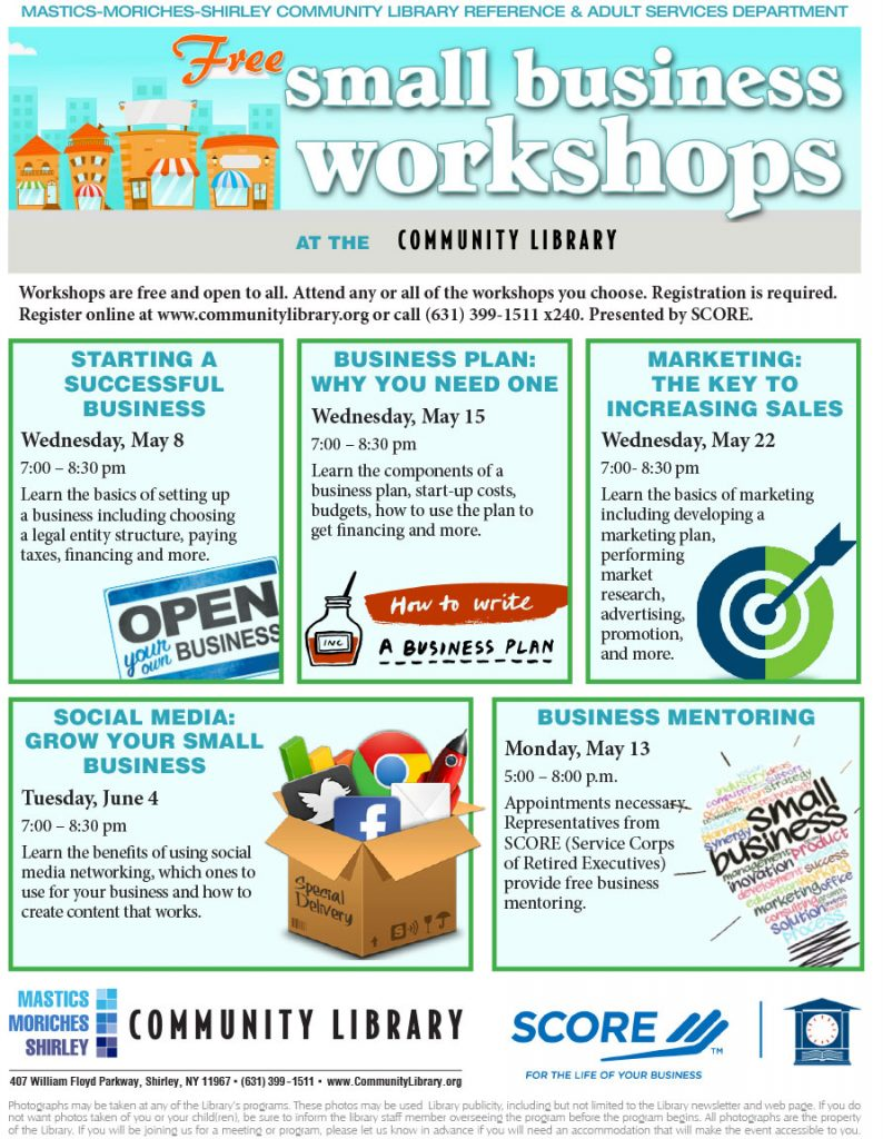 Small Business Workshops at MMS Library - Spring 2019
