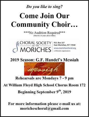 Come Join Our Community Choir @ William Floyd High School Chorus Room 172 | Mastic Beach | New York | United States