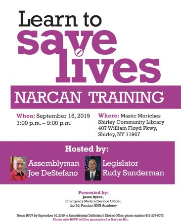 Learn to Save Lives - Narcan Training @ Mastic Moriches Shirley Community Library | Shirley | New York | United States