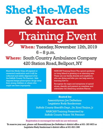 Shed-the-Meds & Narcan Training Event @ South Country Ambulance Company | Bellport | New York | United States