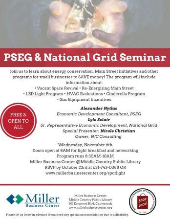 PSEG & National Grid Seminar @ Miller Business Center | Centereach | New York | United States