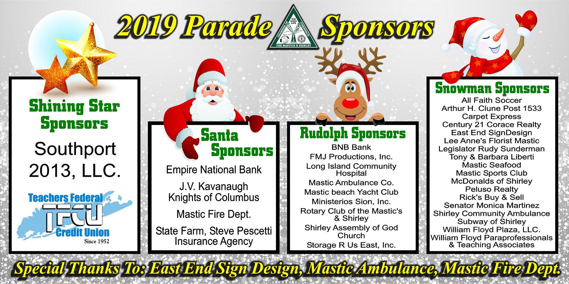 Mastic Shirley Christmas Parade 2020 MASTIC SHIRLEY CHAMBER 2019 CHRISTMAS PARADE SPONSORS   Chamber of